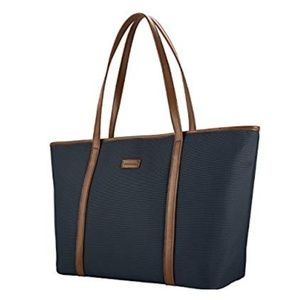 Chiceco extra large tote bag navy & brown leather